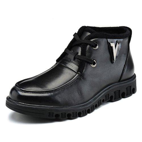 FGN 富贵鸟 冬季 英伦 中高帮 棉鞋 厚底 男鞋 真皮 保暖 男靴 皮鞋 雪地靴子