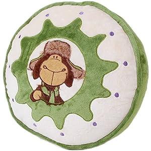 外贸nici 圆形立体靠垫抱枕 戴帽子的雷锋羊 绿色