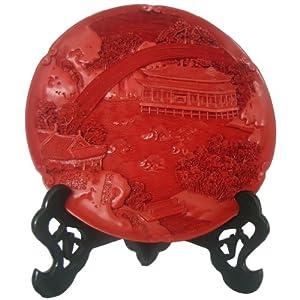 北京特色漆雕工艺品10寸玉泉垂虹盘