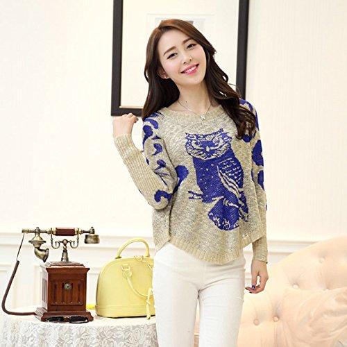 伊丽贝莎 针织衫新款韩版宽松不规则猫头鹰图案打底针织衫