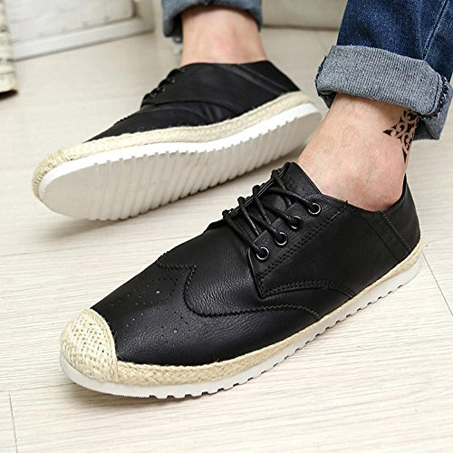 夏季韩版男士休闲鞋林弯弯草编潮流行男鞋子透气布洛克雕花豆豆鞋