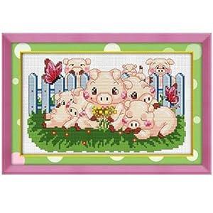 恋美十字绣 66252猪猪宝贝、温馨之家 十字绣套件 中格 11CT