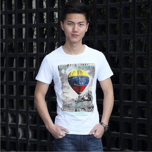 马蒂维尔 2014  夏季新款 男士短袖T恤 简约 时尚 韩版 图案印花 圆领棉个性潮流 百搭t恤DT6231