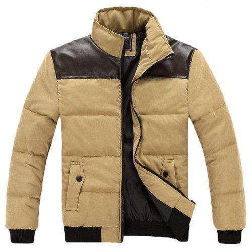 安安安可 英伦时尚版型 皮料拼接款 加厚保暖 爆款棉衣 男棉袄男外套 702268R70