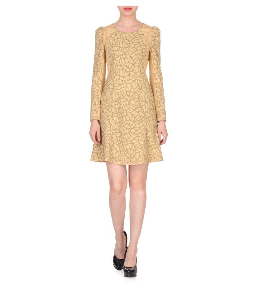 网状花纹肌理面料长袖a字型连衣裙-服饰