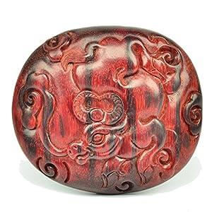 鸿木斋 宝元款 印度小叶紫檀雕刻 牛气冲天 手工精雕满金星手把件