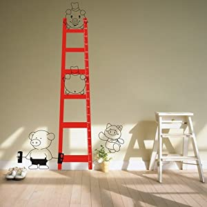 嘉 一代墙贴 梯子身高贴 可移除墙贴纸幼儿园教室布置卡通儿童房背