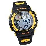 PASNEW百圣牛 学生专用多功能防水运动电子手表239B 大号 黄黑-图片