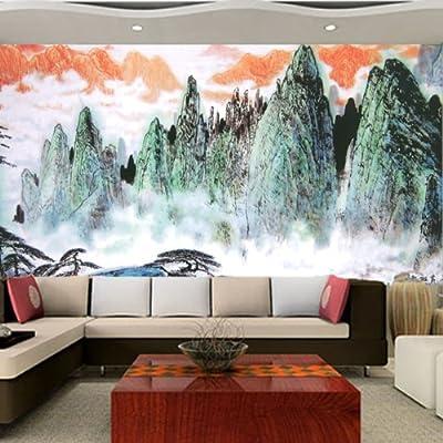 古典水墨风景山水电视商业背景沙发背景墙大型壁画定制 防水无纺布