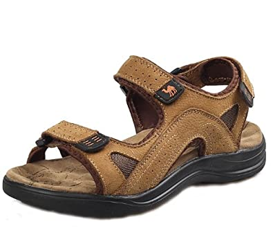 Camel 骆驼 时尚英伦超酷潮男户外凉拖 舒适透气沙滩鞋休闲鞋 头层牛皮手工凉鞋 真皮沙滩凉鞋 男鞋