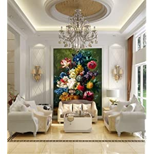 欧式油画风格玫瑰花卉客厅玄关
