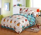 VooChoo 卧趣 全棉活性印染床上用品三件套 时尚床上用品三件套 155*220cm 草莓大嘴猴-图片