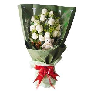 花易鲜花速递 毕业礼物 16枝白玫瑰 1只可爱小公仔 创意爱情鲜花 女友