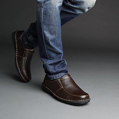 Yulu 优牛 时尚商务休闲皮鞋潮流英伦正装皮鞋真皮系带套脚低帮男鞋 棕色
