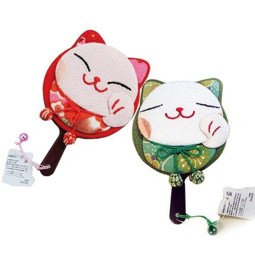 日本正版和风招财猫系列组合促销装 可爱单猫手柄镜(桃粉) 可爱单猫