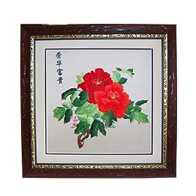 手工刺绣 牡丹傲群芳图片