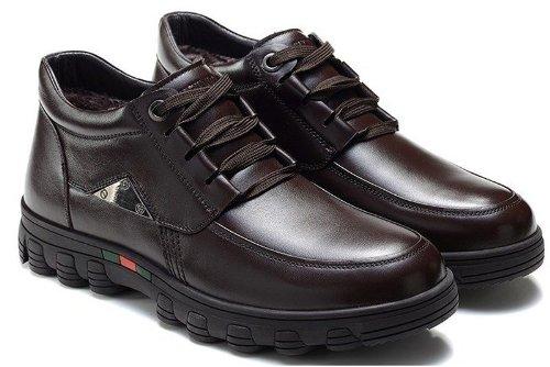 FGN 富贵鸟 休闲真皮男鞋商务正装加绒保暖透气亮面皮鞋