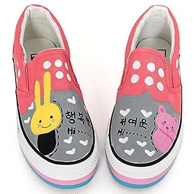 卜丁 卜丁 手绘鞋 松糕鞋 甜美涂鸦鞋套脚鞋 牛筋底学生鞋 厚底帆布鞋