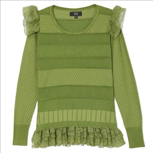 OSA欧莎油绿伊人2012春装新女装长袖打底衫短款蕾丝套头针织衫H22460