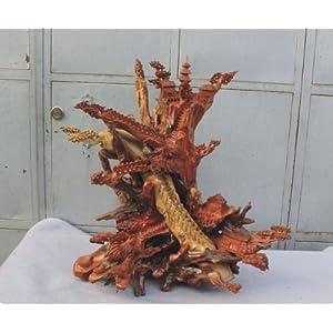红豆杉天然根抱石根雕山水摆件