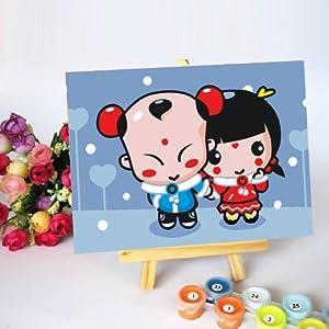 佳彩天颜 数字油画 卧室儿童卡通情侣手绘手工画装饰画 两小无猜 两小