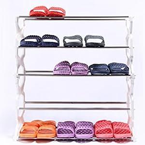 宅人帮 梯形5层鞋架 家居收纳整理置物架 不锈钢塑料鞋架 白色大方时尚 鞋子的集中地 储藏工具