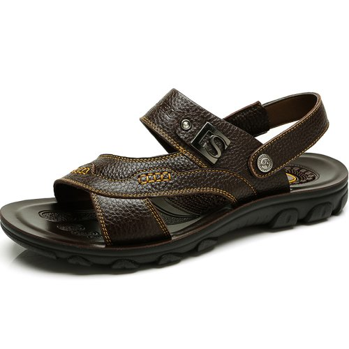 Camel 骆驼 正品男凉鞋 休闲真皮男士凉鞋 沙滩鞋凉拖两穿82211604