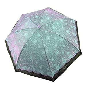 超强防紫外线 变色闪光布 遮阳晴雨伞 33101e 玉枝冰花 深绿色
