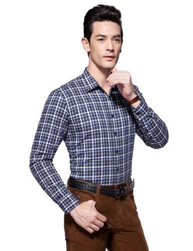 LAX JOY 朗悦男装冬季新款保暖衬衫 男士格子衬衣高档桑蚕丝长袖衬衫男 长袖衬衫 保暖衬衫 保暖衬衣 衬衫男士长袖  男士长袖衬衫 (可货到付款)CB1382