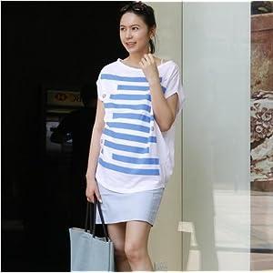 孕韩版孕妇装宽松蝙蝠袖宽条纹孕妇上衣夏装孕妇t恤均码白色 高清图片