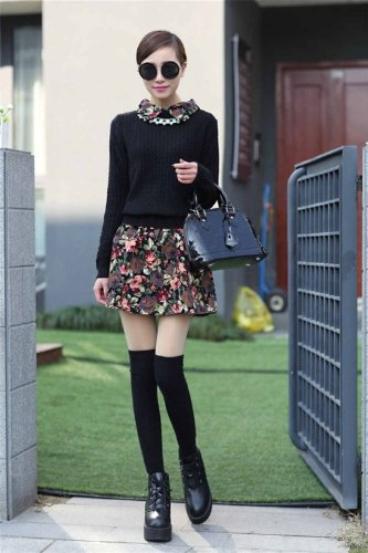 Dress love 爱衣裳 1118 春秋装新款女士针织衫拼接连衣裙,韩版女装碎花裙,女士蓬蓬裙针织衫 (均码, 黑色)
