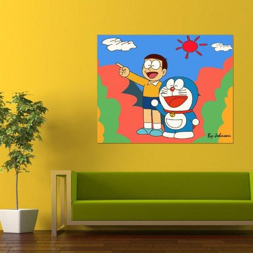 回至 美时美刻 多拉a梦 现代客厅卧室儿童房床头背景无框装饰画壁挂画