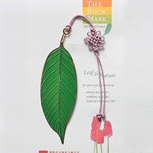 原创意复古文具 配中国结 植物书签 树叶书签 叶子书签 绿叶