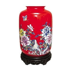 红玉红瓷 瓷器花瓶 红色二号灯笼瓶 花开富贵