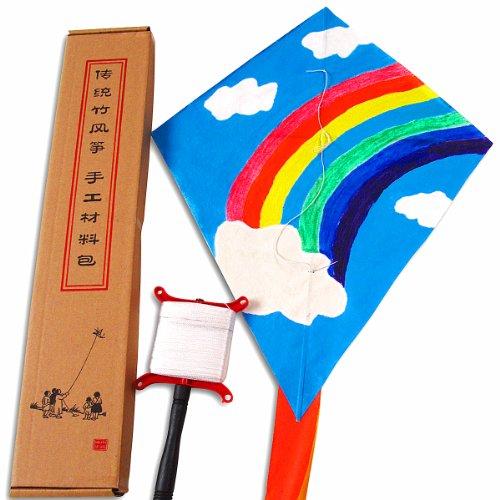 小鸡啄米 diy空白风筝手工材料包 传统竹条教学纸风筝
