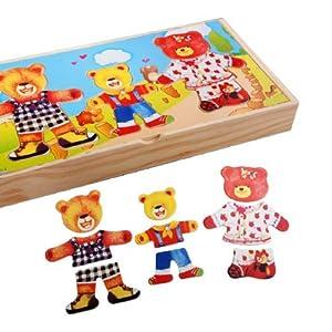 儿童益智玩具 木制婴幼儿拼图 三熊穿衣
