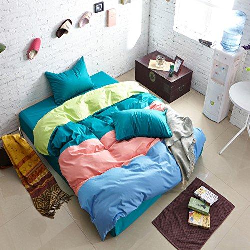 可慕家纺 激情系列 活性全棉四拼色四件套 纯棉床品套件 床单 被套 1.