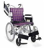 日本河村CH800轻量型多功能轮椅 22in后轮 可选碟式与鼓式刹车 活动扶手活动脚折叠靠背 (坐宽40 坐高43, 方格紫(蝶式刹车))-图片