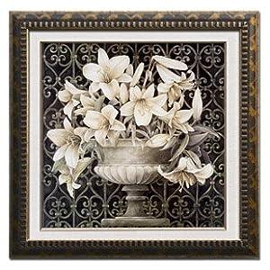 腾画 欧式现代客厅装饰画 新古典 花卉有框画墙画壁画