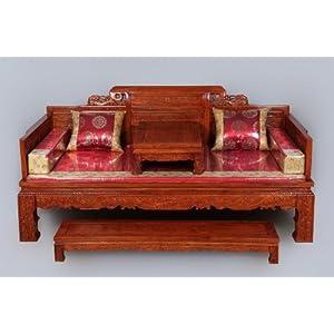 龙上龙 东阳木雕红木家具 鸡翅木实木家具万字格罗汉床 仿古家具  ¥