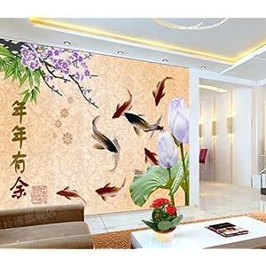 CESELAVIE 塞拉维 中式简修风格 国画荷花鲤鱼梅花客厅背景墙 餐厅
