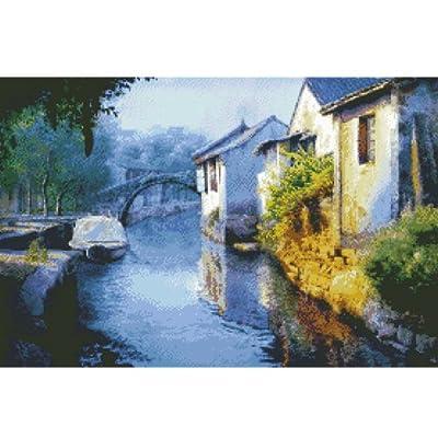 大幅客厅卧室中国风风景油画江南水乡