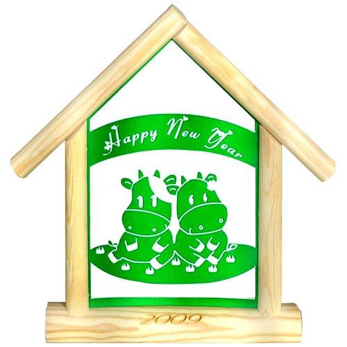2009牛年木屋雕刻画 卡通牛-绿色
