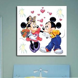 美时美刻 儿童房壁画床头画卡通装饰画米奇米妮无框画幼儿园挂画单幅