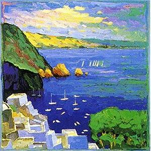 希腊风景,高档纯手绘无框油画,尺寸:60x60cm,风景油画,海边白房子