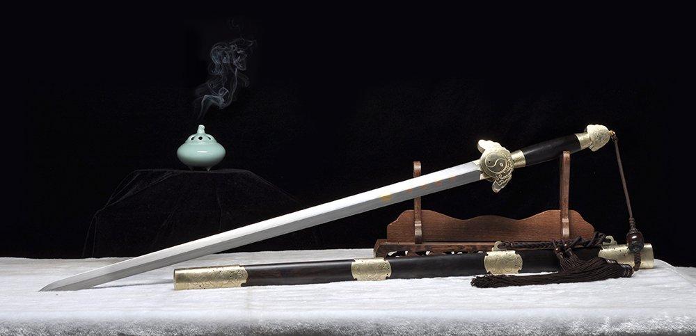 剑_沈广隆 龙渊剑 送剑架 牡丹图 手工传统剑 龙泉宝剑 沈广隆剑铺 工艺