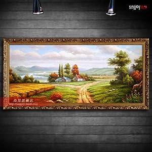 尚简手绘油画欧式油画有框画客厅山水风景餐厅玄关装饰画壁画丰收