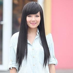 2014欣怡天使假发 女生 黑色 斜刘海长直发 韩版 时尚