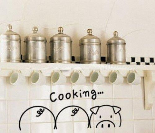 可爱小猪撞墙儿童房可移除墙贴壁贴环保卡通贴纸墙贴