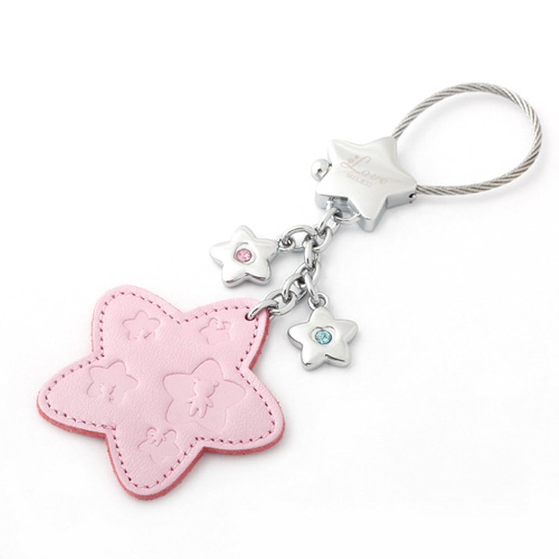 milesi 米勒斯 真皮 汽车 钥匙扣 女士 可爱 钥匙链 挂件 星星 创意
